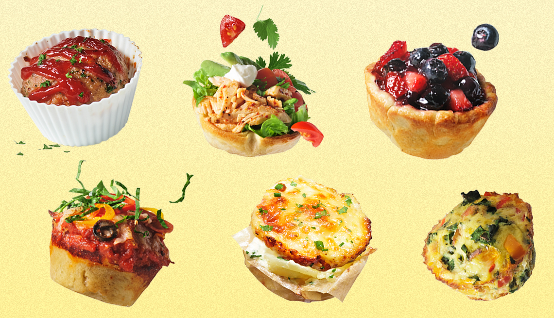 recipes that can be made in a muffin tin including mini meat loaf and taco salad cups and fruit pies and mini pizzas and potato gratin and frittatas