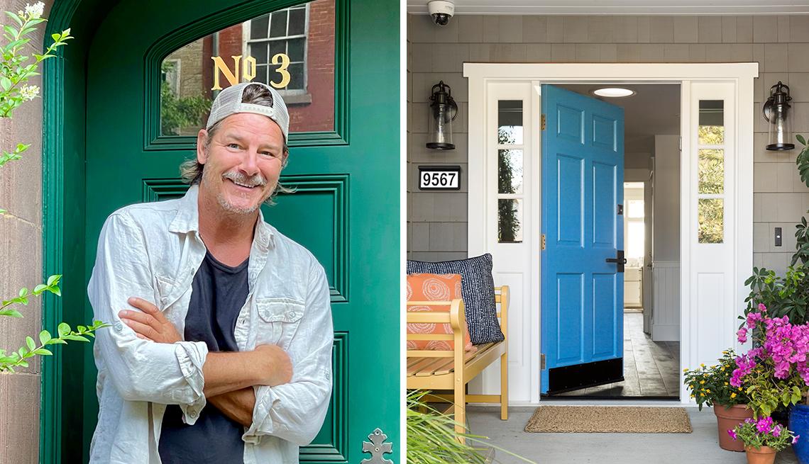 Ty Pennington en la entrada de una casa