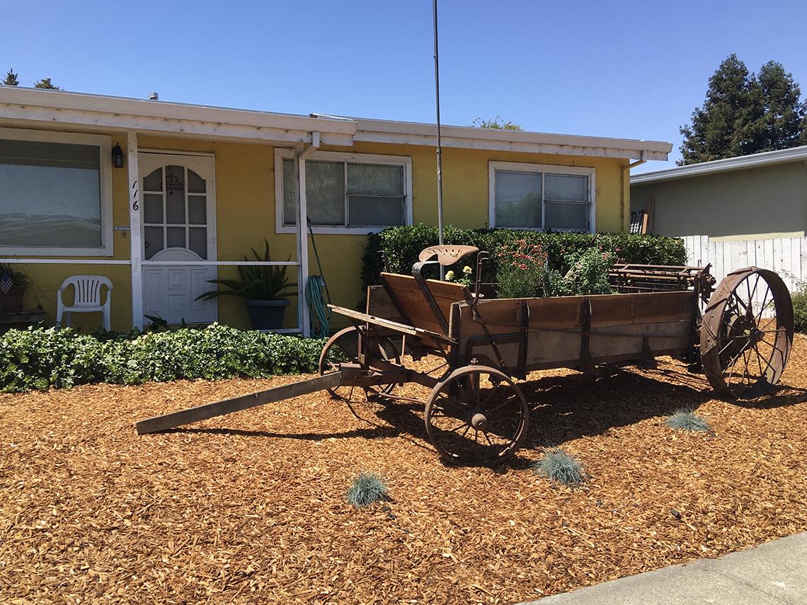 Carreta llena de plantas en frente de una casa