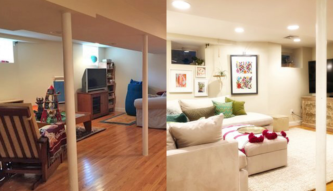 before pic of basement family room area with dark mismatched furniture before and light neutral shades after with art on the walls that looks welcoming