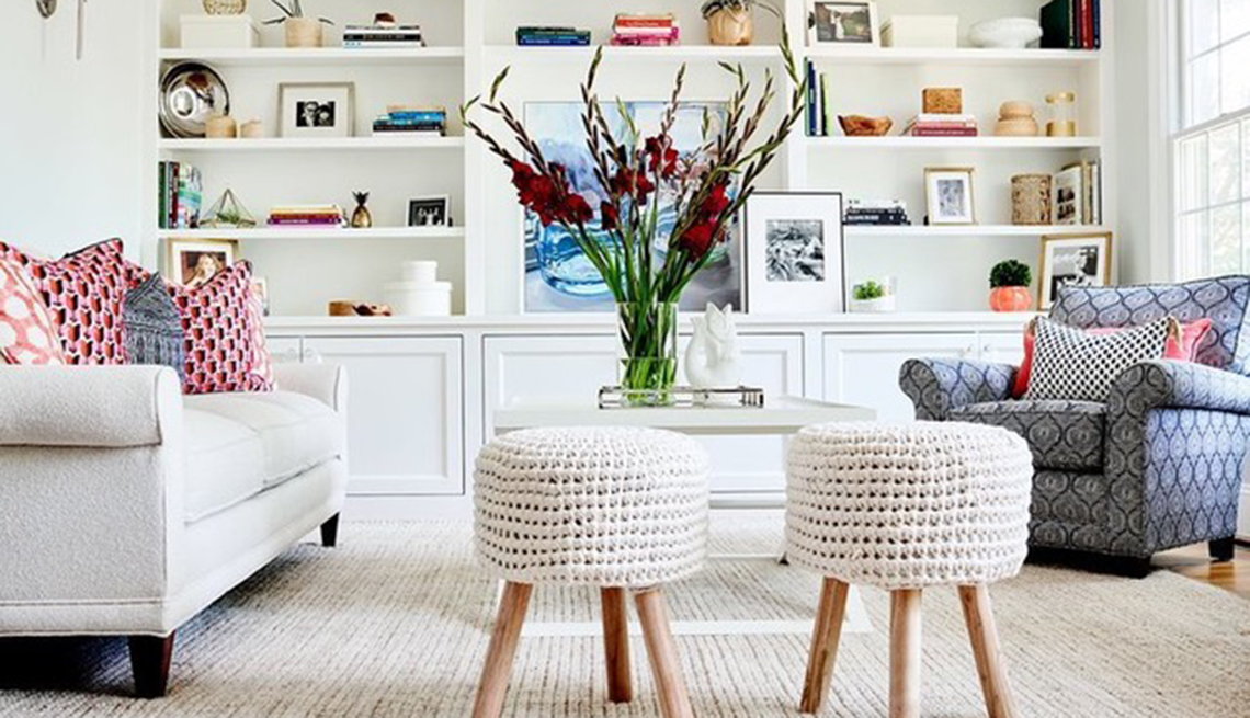 bright airy living room with built in bookcases designed by tess leeds