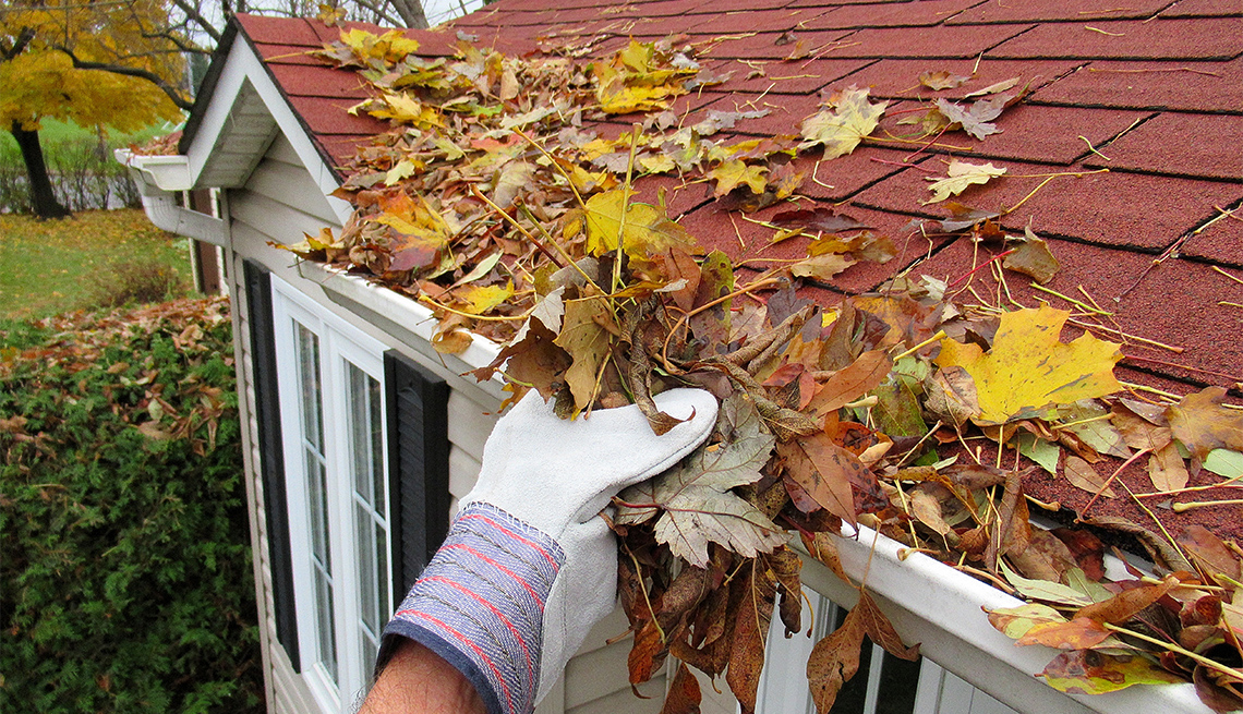 """someone cleaning leaves from a roof top gutter """""""