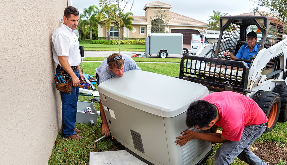 men install a 17 day whole house emergency generator