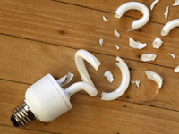 Broken fluorescent bulbs require special cleanup due to mercury inside