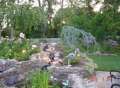 Garden with stork