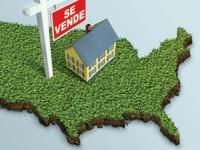 """Mapa de Estados Unidos con una casa y un aviso de """"Se Vende""""  - Precios de la vivienda en Estados Unidos"""