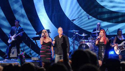 The B-52s performed an anniversary concert at the Classic Center in Athens, Georgia