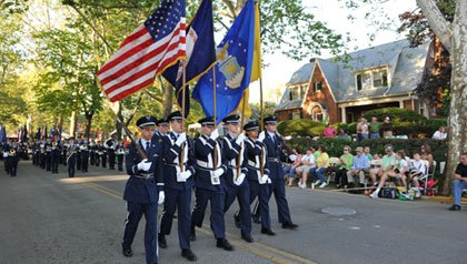People parade through Winchester, VA on July 4.