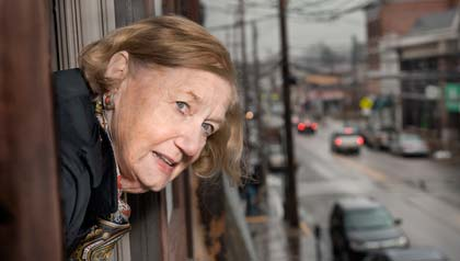 Barb Bush volunteered with AARP members to note barriers and suggest ways to make the area more pedestrian-friendly.