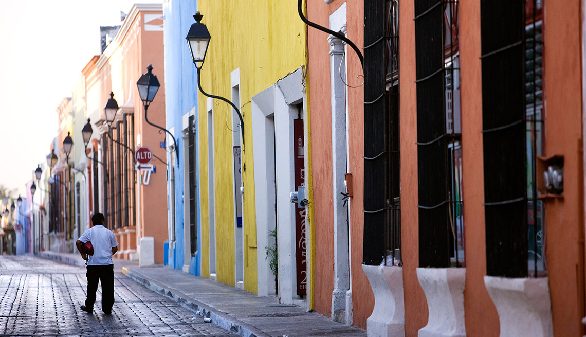 Cobbled Streets And Colorful Homes In Campeche City Mexico, Cheap Places To Retire
