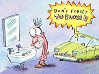 Cartoon of man brushing teeth as his car instructs him not to forget to floss. Is smart car technology too much for older drivers?