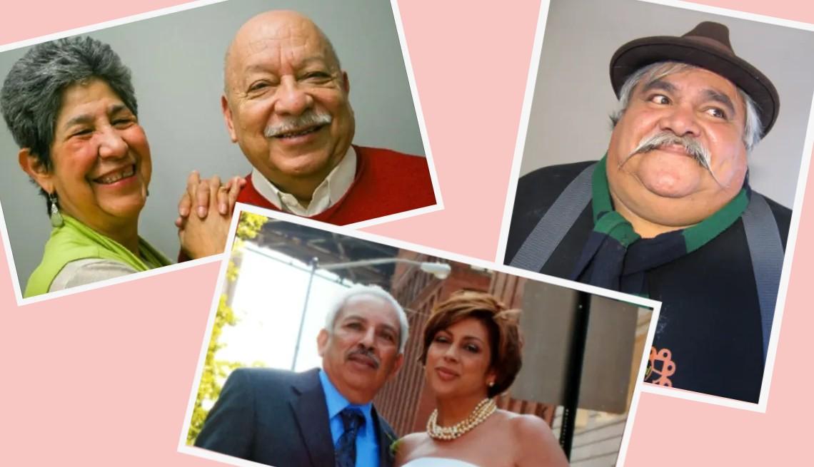 """Montaje de fotos de Tomás Ybarra-Frausto y Antonia, Ramón """"Chunky"""" Sánchez y Leonardo Vega junto a su hija Eva Vega-Olds."""