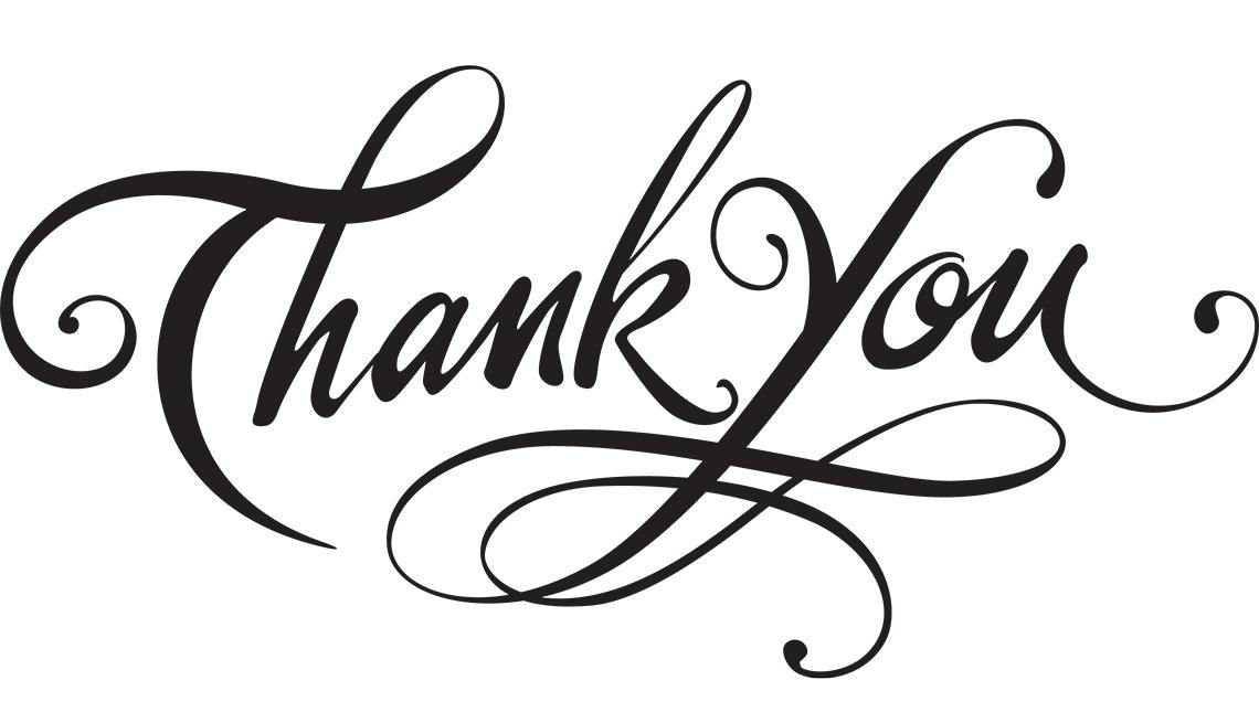 """Logo en inglés de gracias """"Thank you""""."""
