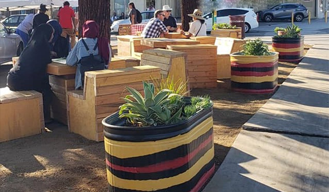 Planters and outdoor seating in the City Heights neighborhood of San Diego, California