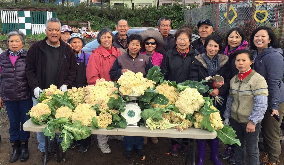 Community members gather around a cauliflower harvest from the Florence Fang Community Garden