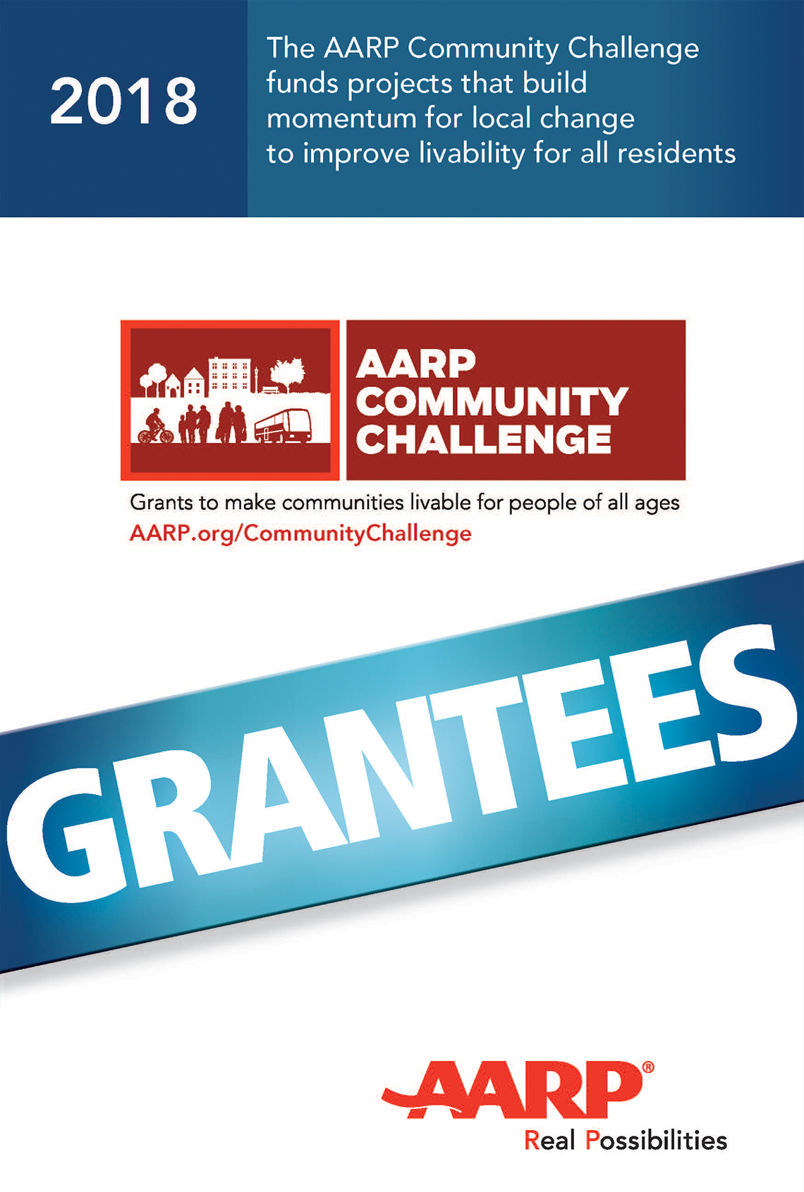 Cover of the 2018 AARP Community Challenge Booklet of Grantess