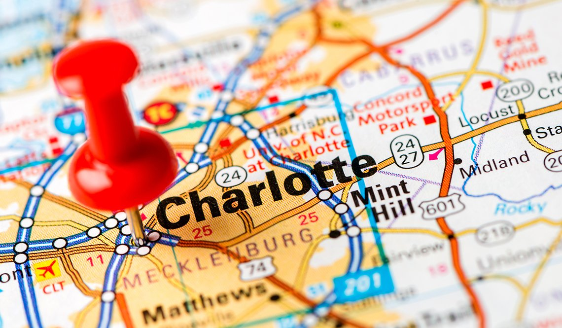 A red pin marks Charlotte, North Carolina, site of the 2018 AARP Livable Communities National Conference