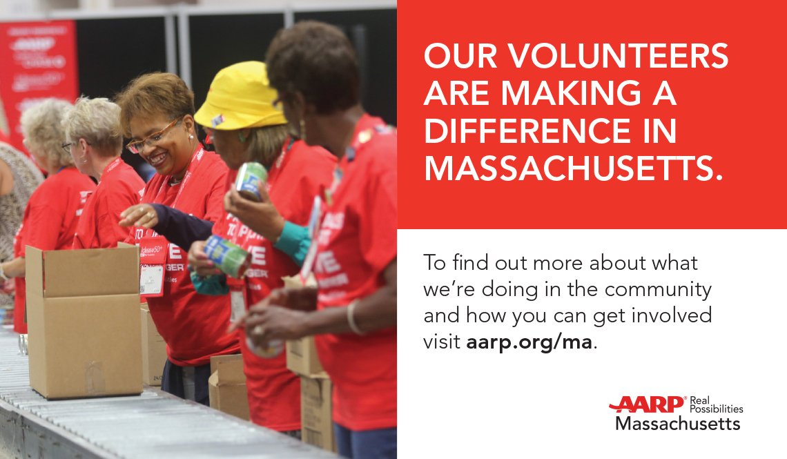 An advertisement about the work of AARP Massachusetts volunteers