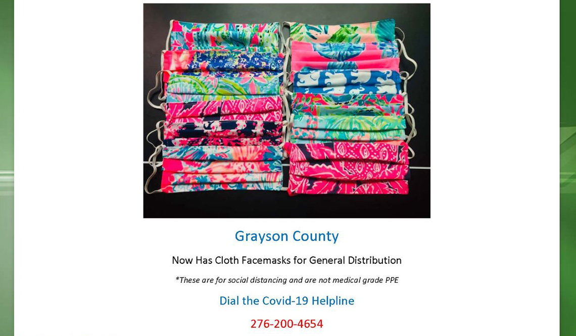 Colorful COVID-19 Facemasks from Grayson County
