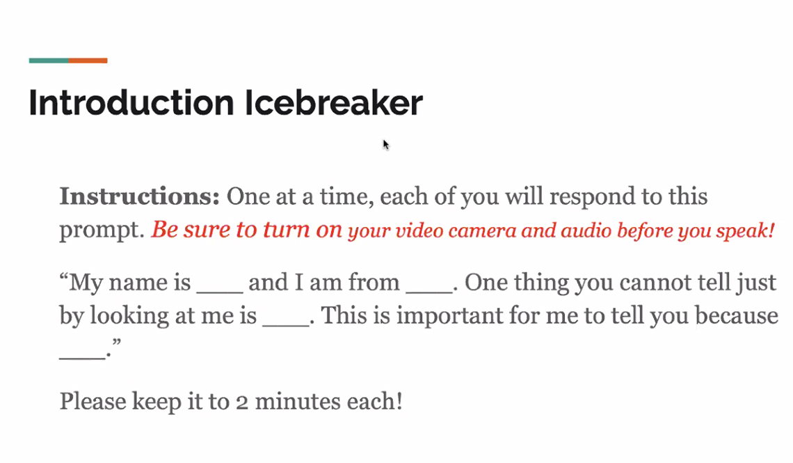 An Icebreaker Question During an Online Event