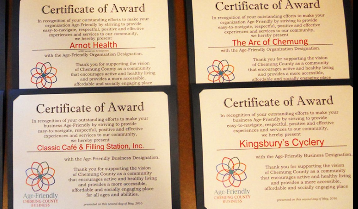 Chemung County Age-Friendly Certificates