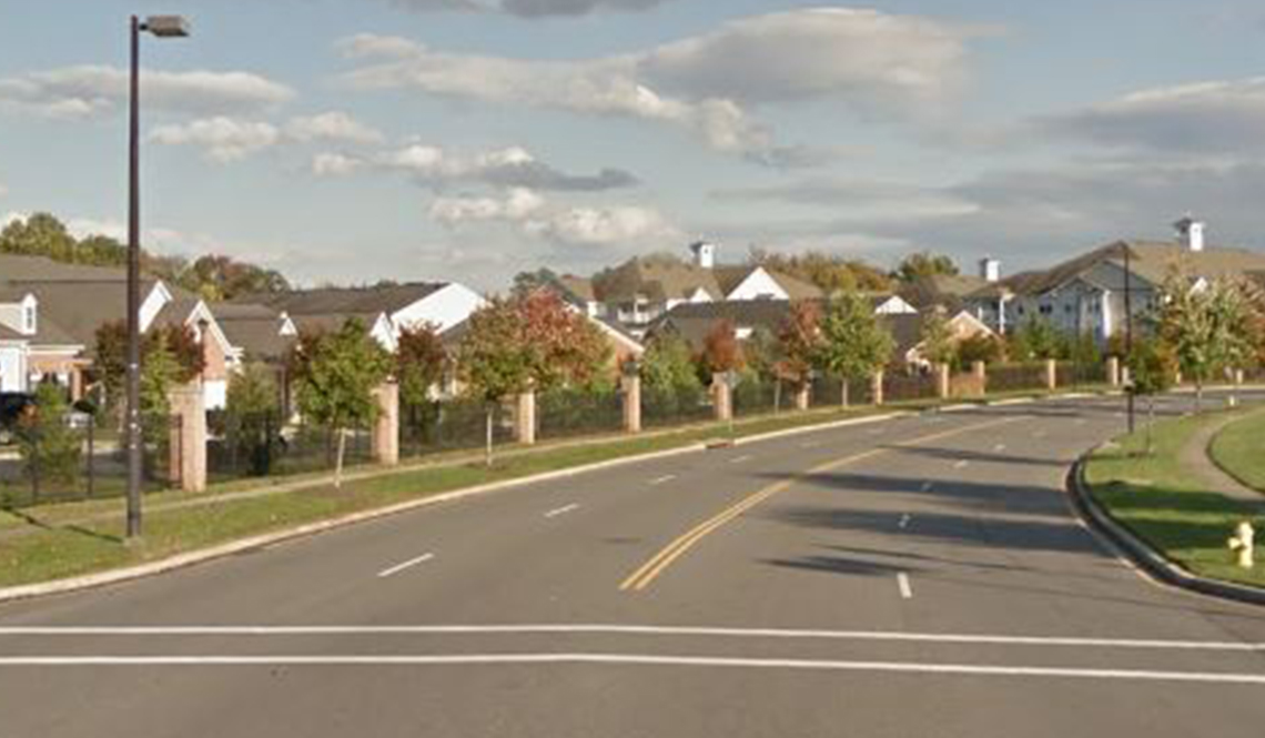 Mitchells Chance Road in Edgewater, Maryland, before the installation of pedestrian safety features