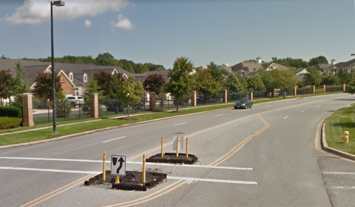 Mitchells Chance Road in Edgewater, Maryland, during the installation of pedestrian safety features