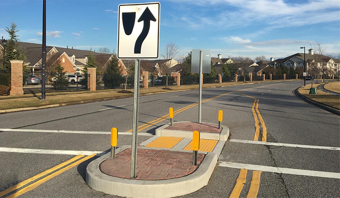 A newly installed crosswalk and pedestrian island in Edgewater, Maryland