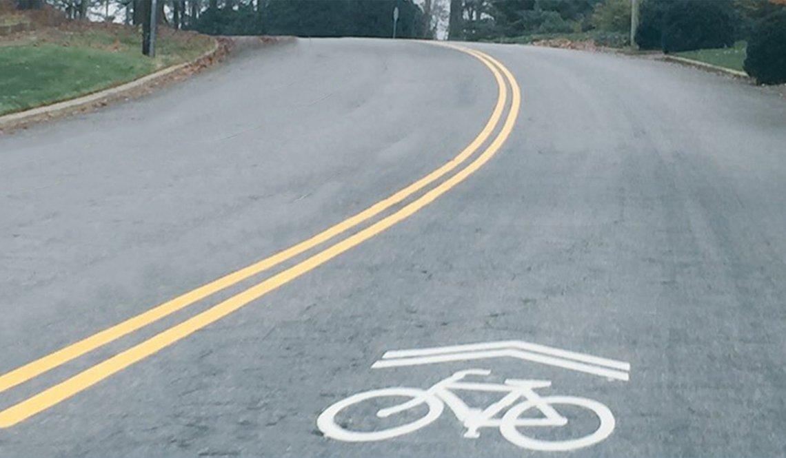 A sharrow lane in Raleigh, North Caroline