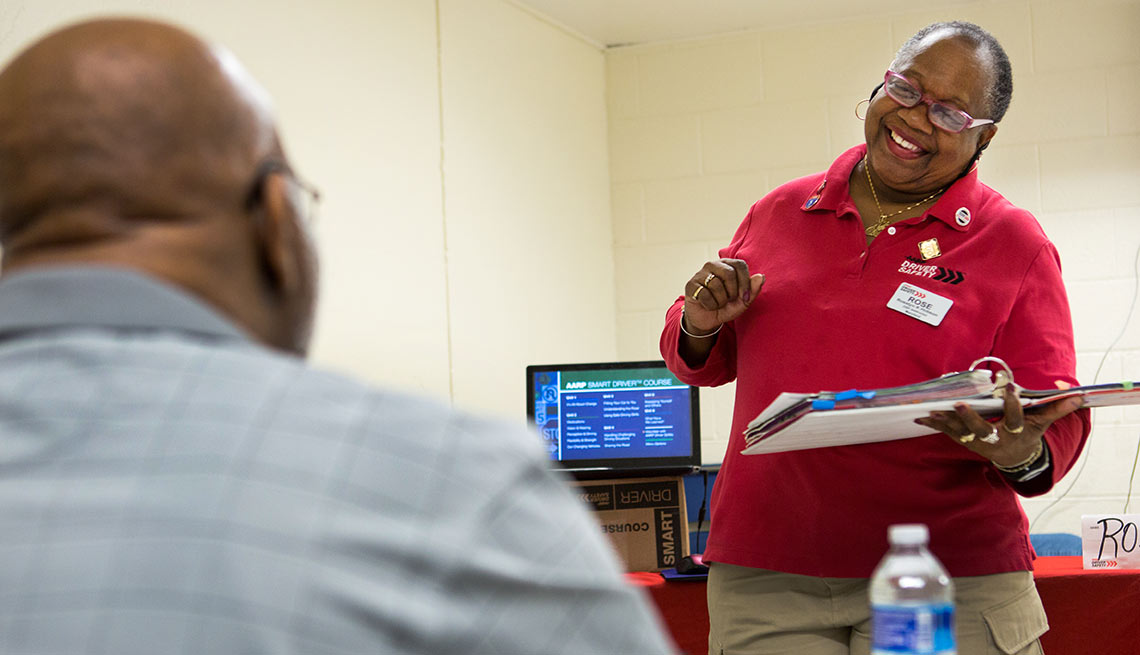 AARP Driver Safety instructor Rose Hobson teaching a course in District Heights, Maryland