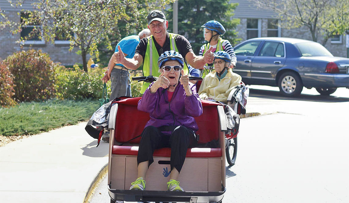 Cycling Without Age pilot and passenger