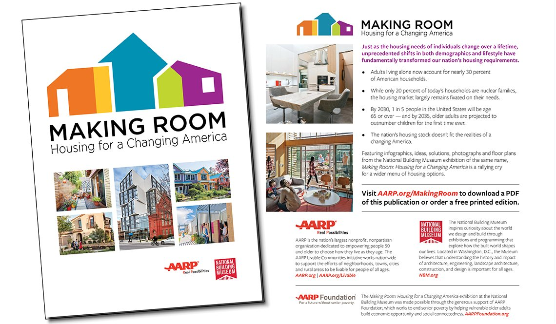 The front and back covers of Making Room, a publication of AARP and the National Building Museum
