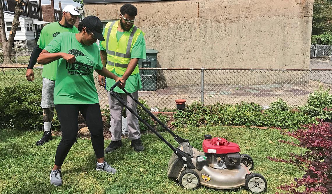 Washington DC Mayor Muriel Bowser Mows a Lawn