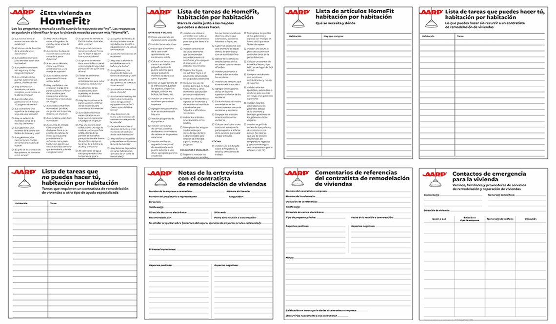 AARP Home Fit Spanish Worksheets