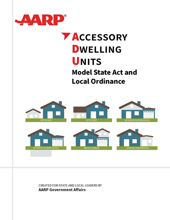 Cover of the AARP ADU Model State Act and Local Ordinance report