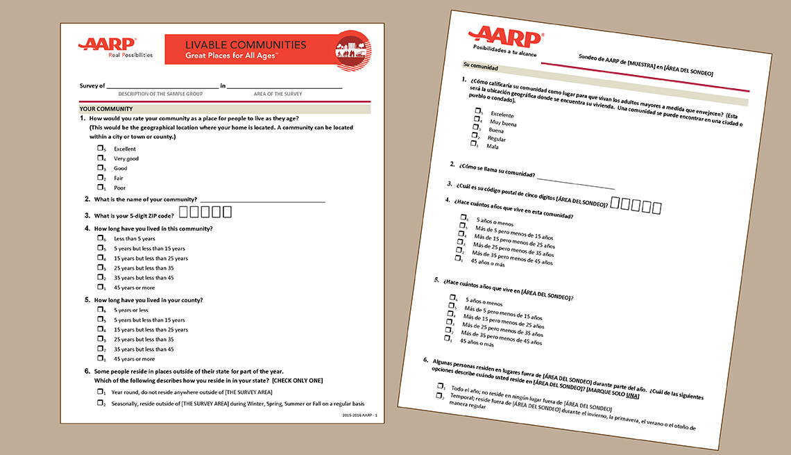 The AARP Community Survey template is available in English and Spanish