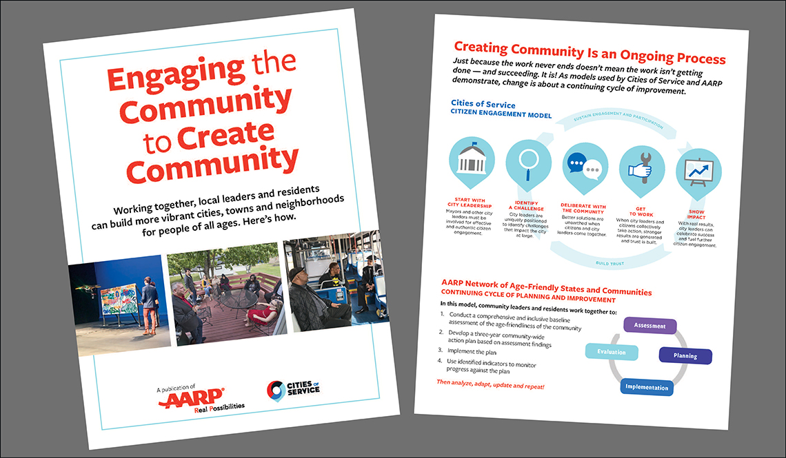 The cover and a page from Engaging the Community to Create Community
