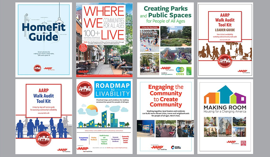 The covers of eight publications from AARP Livable Communities