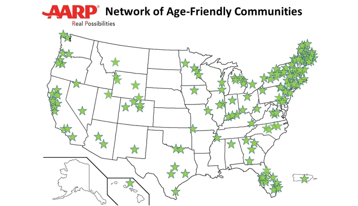 Map with stars indicating communities in the AARP Network of Age Friendly Communities