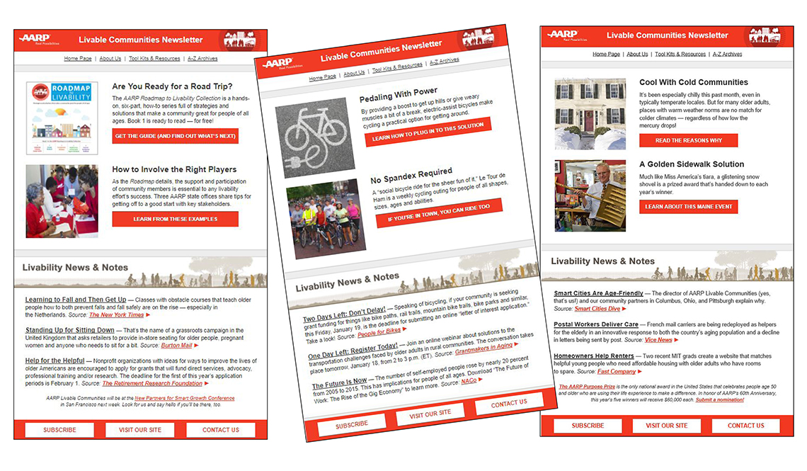 Three issues of the AARP Livable Communities Weekly E-Newsletter