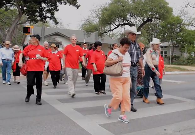 Walking in crosswalk, Livable Communities