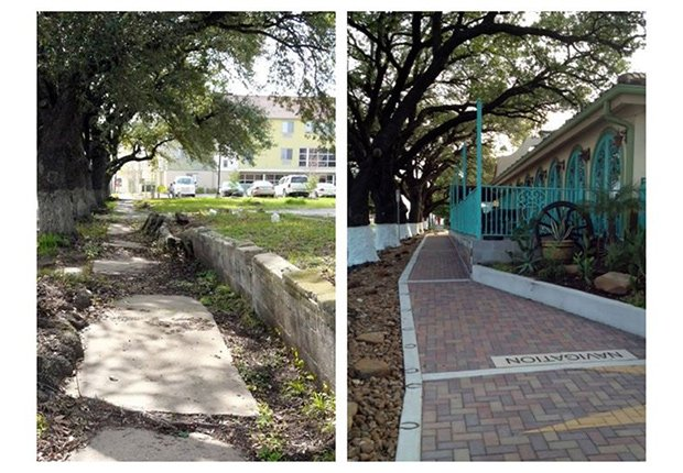 Repaired sidewalk in Houston, Livable Communities