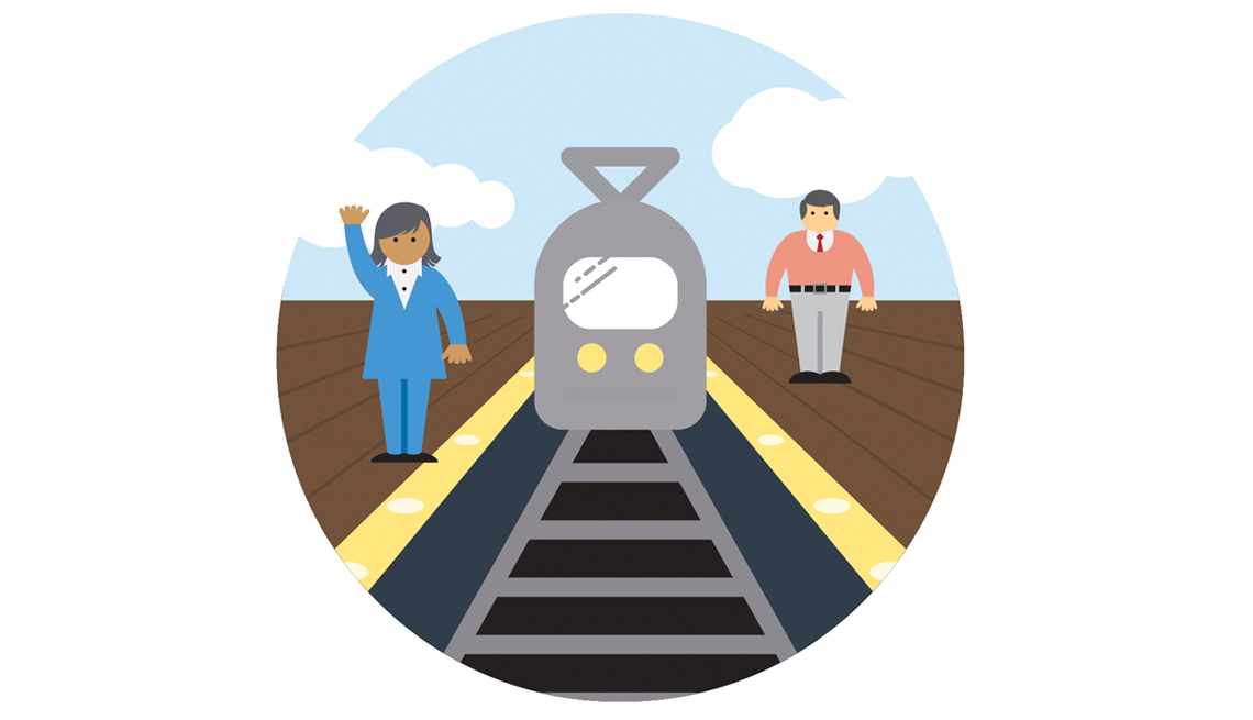 Transportation, Train, Woman, Man, Illustration, Train Tracks, Domains Of Livability