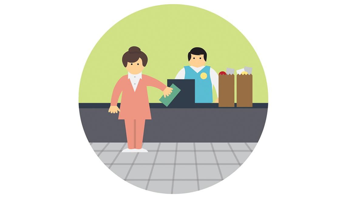 Illustration, Woman, Man, Cashier, Store, Transaction, Employment, Domains Of Livability