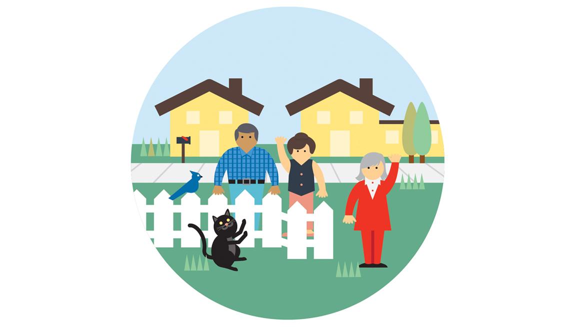 Neighborhood, Illustration, Fence, Houses, People, Neighbors, Cat, Domains Of Livability