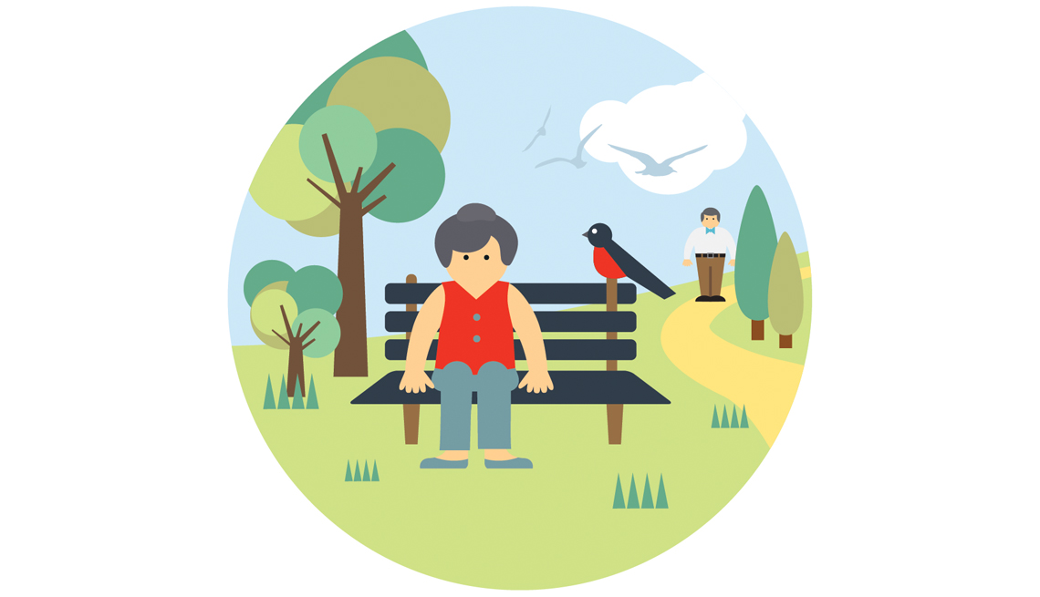 Older Woman, Sitting On Bench, In The Park, Trees, Grass, Bird, Domains Of Livability