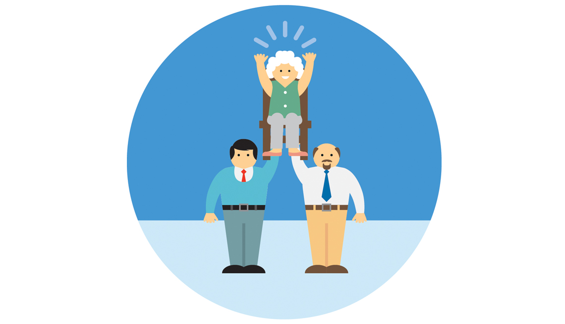 Illustration Of Two Men Holding Up Woman Sitting In Chair, Domains Of Livability