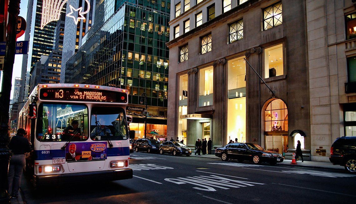 Public Transit Bus Stops And Picks Passengers Up In Downtown New York City, Buildings, Evening, Livable Communities, Great Cities For Older Adults