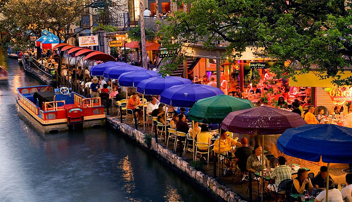 Downtown, Restaurants, People Sit On Boardwalk Enjoy Dinner, San Antonio, Texas, Livable Communities, Great Cities For Older Adults