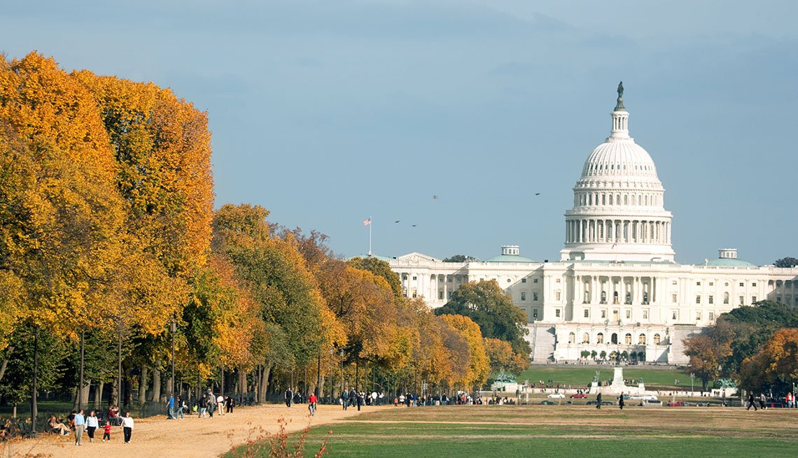 The National Mall With The US Capitol Building In Washington, DC, City, Tourists, Autumn, Livable Communities, Great Cities For Older Adults